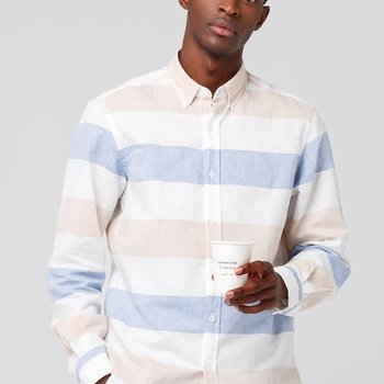Edmmond The Button Down Shirt Horizontal Stripes Light Blue