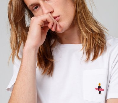 Edmmond Surfer Pocket Tee Plain White
