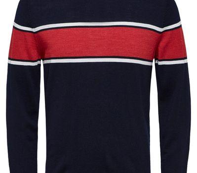 Selectedhomme SLHMountain Merino Stripe Navy Blazer/ white Rio